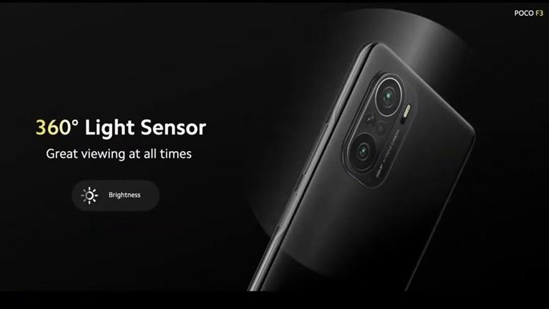 POCO F3 360度の環境光センサー
