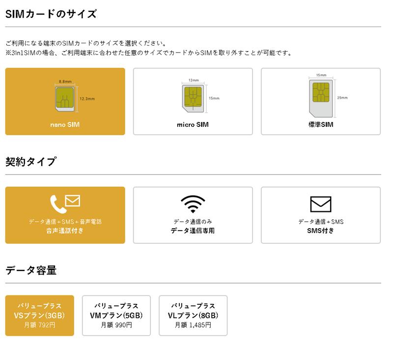 SIMカード、契約タイプ、データ容量