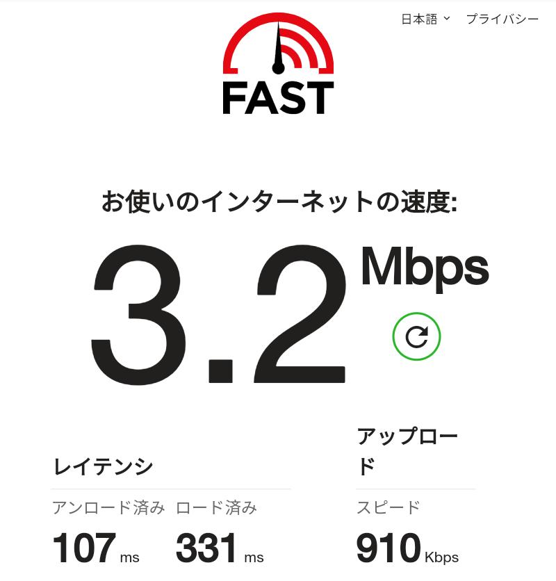 Rakuten WiFi Pocket 3G回線速度